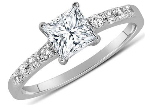 1 Carat Princess cut Diamond Engagement Ring in 10K White