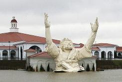 """The six-story tall """"King of King's"""" statue of Jesus Christ stands outside of Solid Rock Church in Monroe, Ohio."""