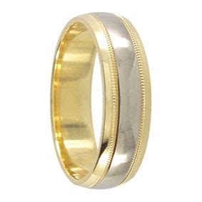 6mm 2 Tone 9ct Gold Milgrain Mens Wedding Band