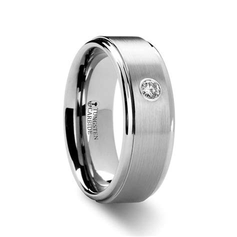 DENVER Men's Tungsten Wedding Band with Diamond   Wedding