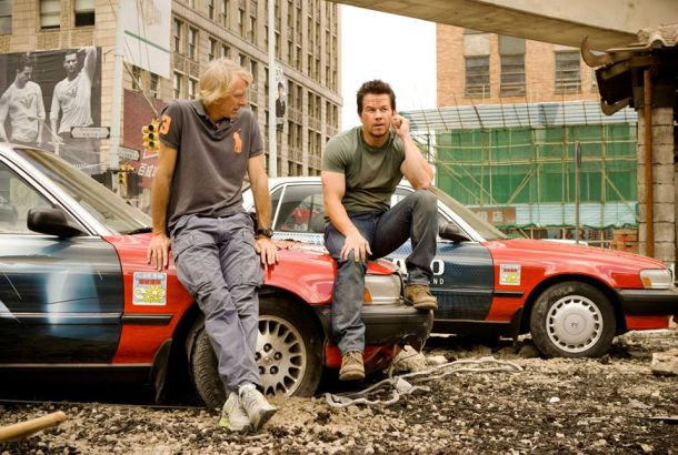 Director Michael Bay and Mark Wahlberg on the set of Transformers: Age of Extinction.