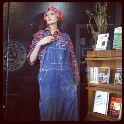 Mannequin at Autumn Leaves Used Books in Ithaca. I think they knew I was coming. #overalls #mannequin #Ithaca