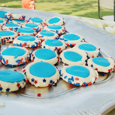 4th of july iced thumbprint cookies