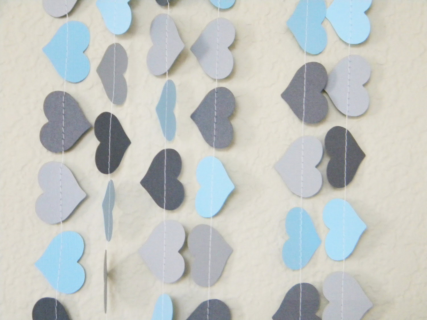 Light Blue Gray Dark Grey Fancy Hearts Paper Garland Photo Booth Prop, Birthday Party, Nursery, Baby or Bridal Shower 10 feet - TheKraftRoom