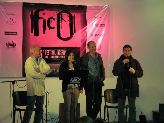 Eduardo Calcagno, Pablo Ratto y Gustavo Garzón en la premiación del Fico 2009