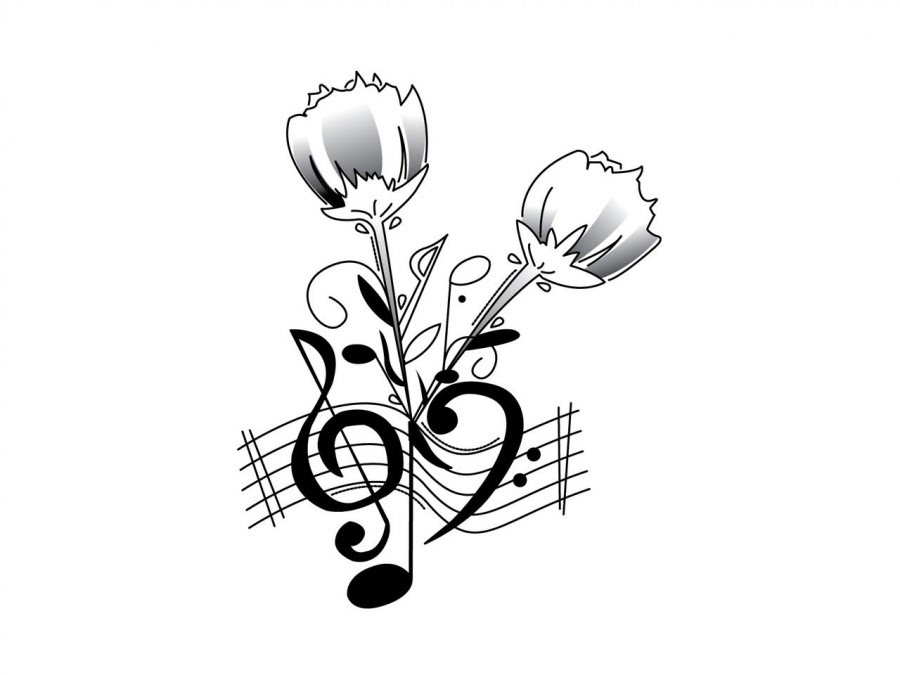 Clef Music Notes And Roses Tattoo Design Tattoomagz
