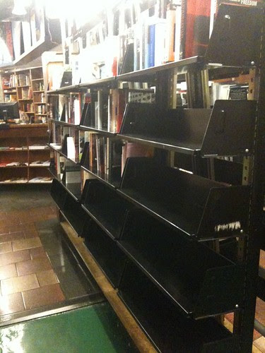 Empty shelves in St. Mark's Bookshop