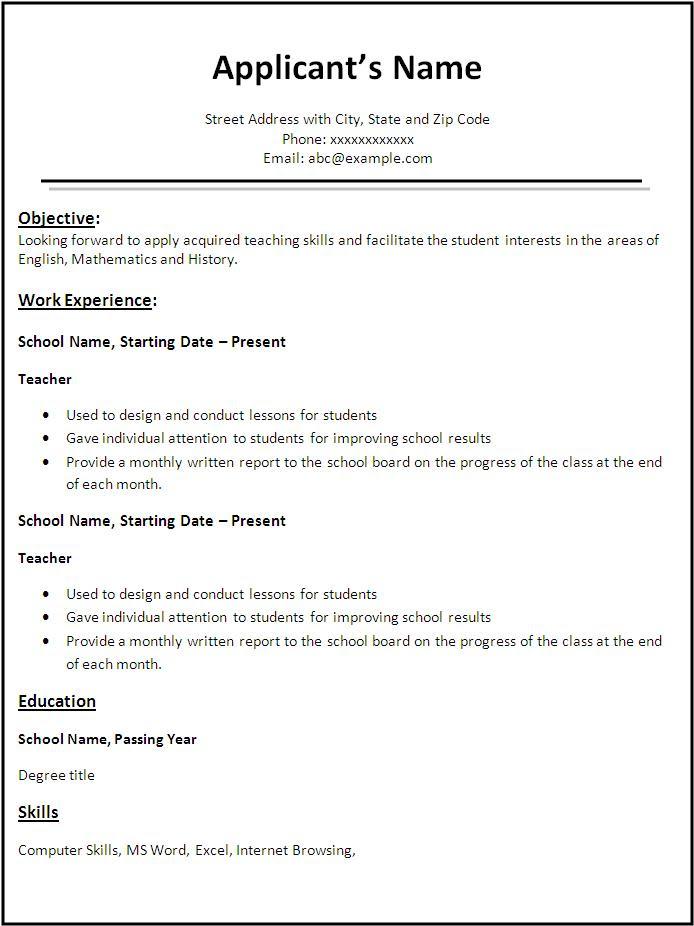 Resume Format Resume Format Teacher