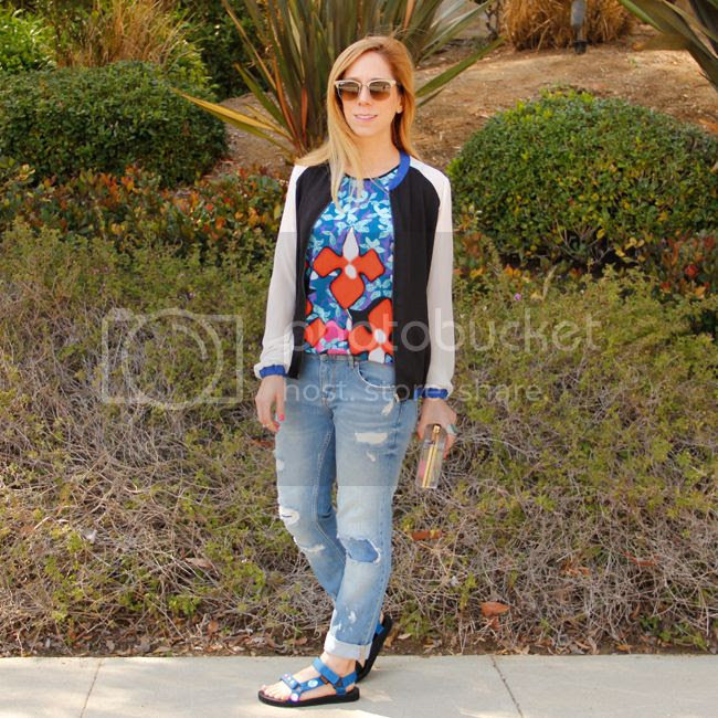 LA fashion blogger The Key To Chic wears a Peter Pilotto for Target iris print tank top with Sally Hansen Triple Shine nail polish and DIY rhinestone Teva Universal sandals.