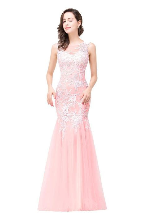 Elegant Pink Mermaid 2018 Prom Dress Straps Floor length