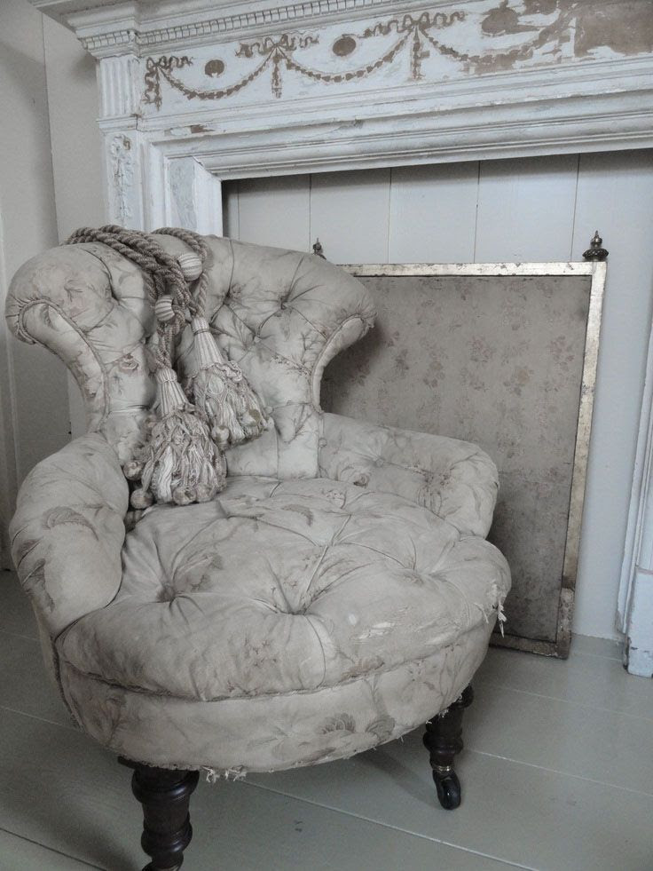 ♅ Dove Gray Home Decor ♅ victorian tufted chair and shabby chic fireplace surround
