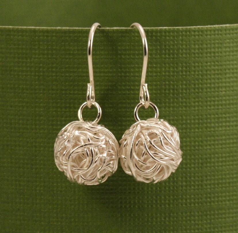 Silver Balls of Yarn Earrings