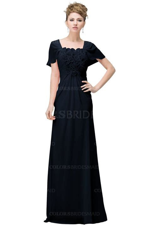 Navy Blue Casual A line Square Short Sleeve Floor Length