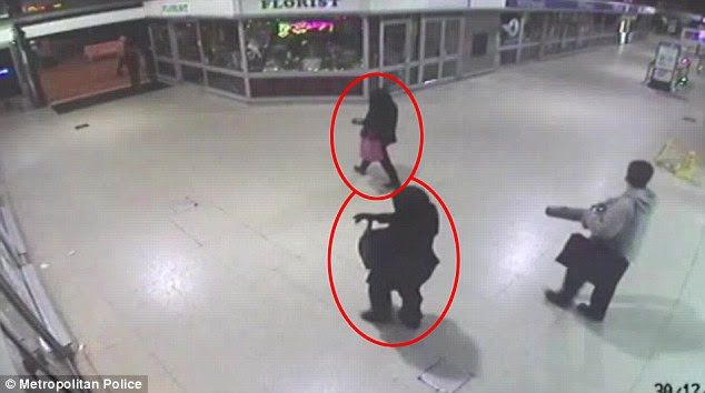 CCTV shows Naomi Oni walking through Stratford station and being followed by someone in a niqab