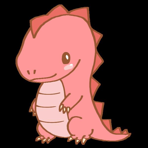 ピンク色の恐竜のイラスト かわいいフリー素材が無料のイラストレイン