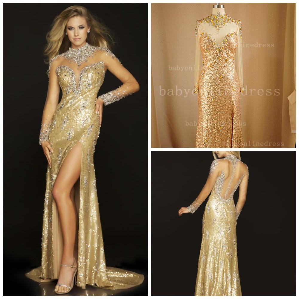 Long sleeve gold evening dresses