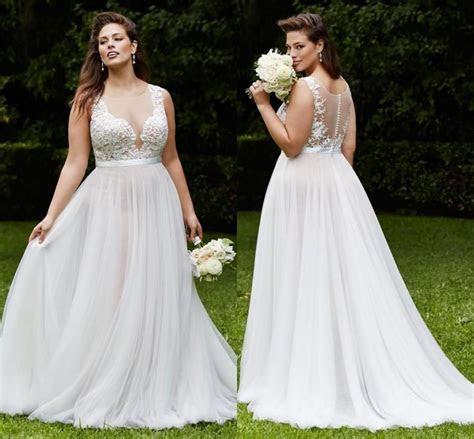 Amzing Plus Size Lace Wedding Dresses Beach Chiffon Gowns