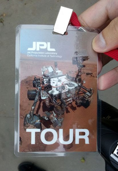 A snapshot that I took of my badge for the tour at NASA's Jet Propulsion Laboratory near Pasadena, California...on May 30, 2018.