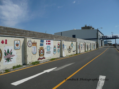 ships' crews' insignia wall  Kings Wharf, Bermuda