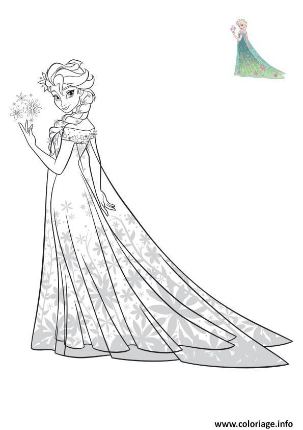 Coloriage Elsa Reine Des Neiges Robe Exotique Disney Jecoloriecom