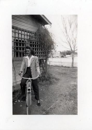 Gloria on a bike