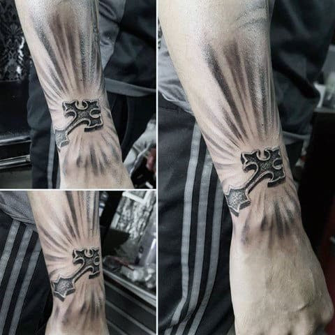 Unique Glowing Cross Guys Small 3d Cross Tattoo Designs On Outer Forearm