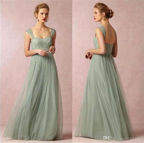 2016 New Sage Cap Sleeves Lace Bridesmaid Dresses Backless