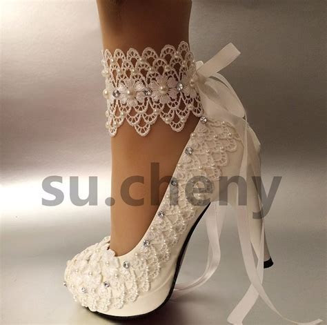 "su.cheny 3""4 "" heel white ivory lace ribbon pearls Wedding"