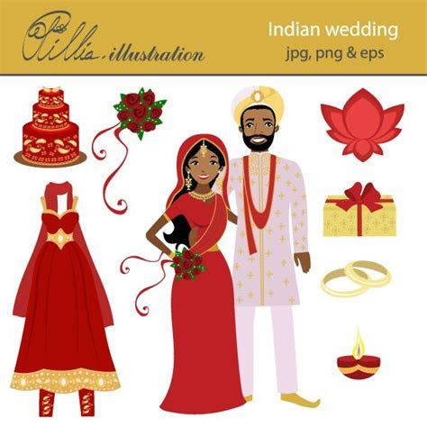 Indian wedding set comes with 8 cliparts including