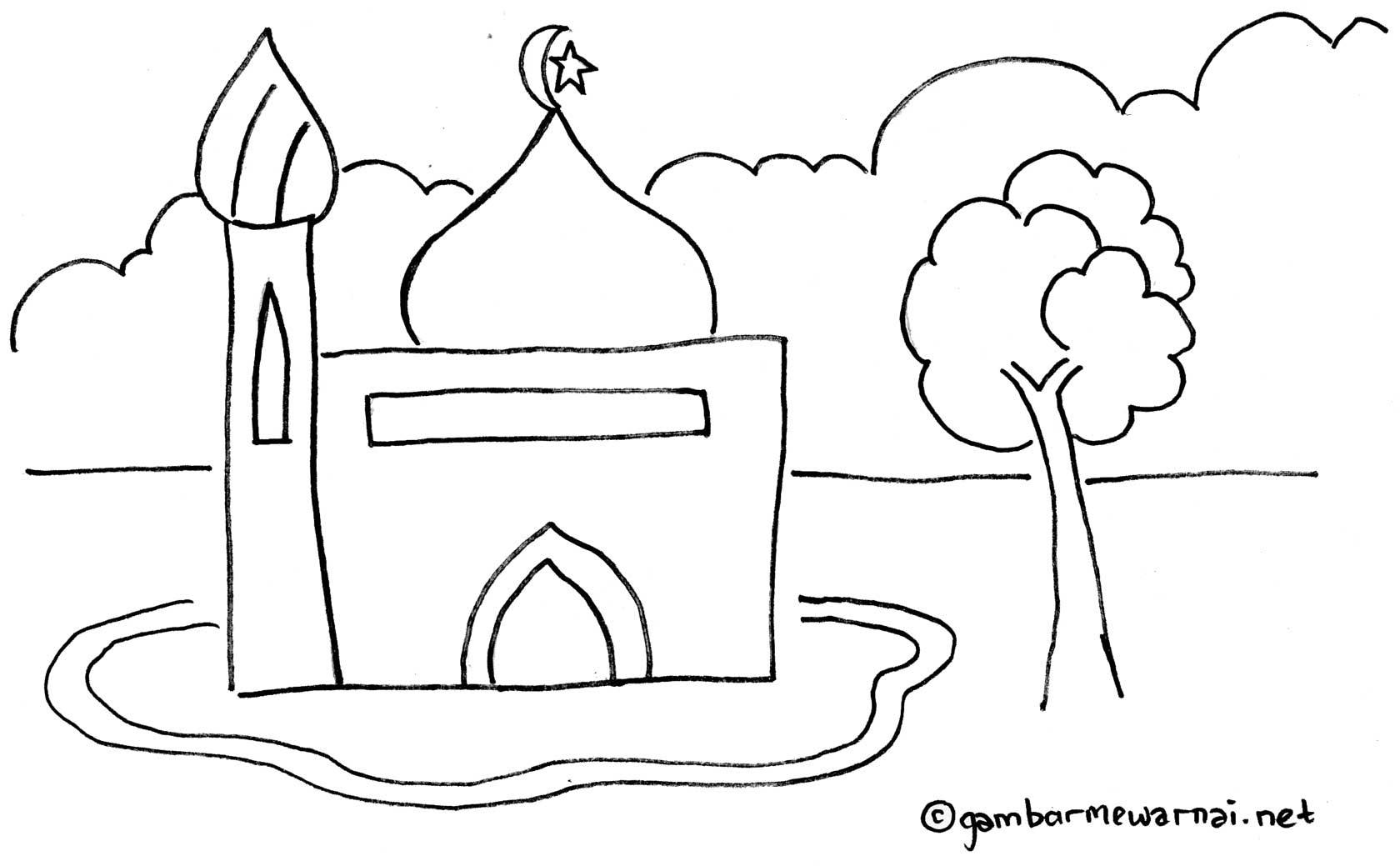 Mewarnai Gambar Masjid gambar mewarnai