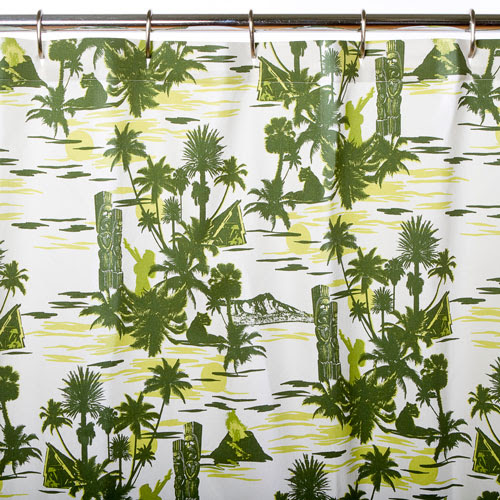 Green Hawaiian Tiki Shower Curtain | Shower Curtains by Sin in Linen