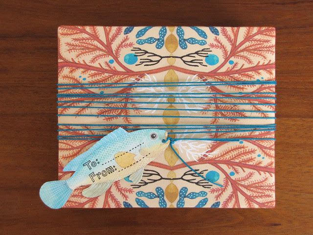 Corals wrapping paper & Fish gift tag