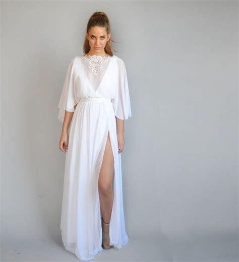 Chiffon wedding dress, kimono sleeves, embroidery at