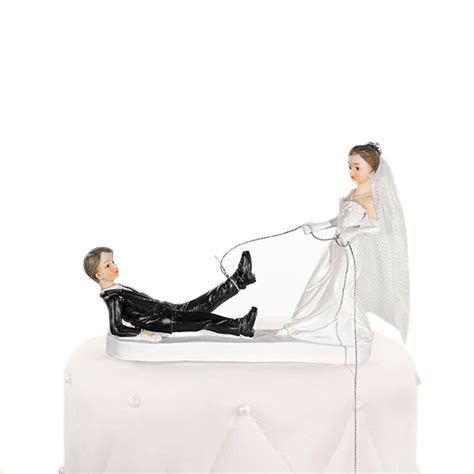 Bride Dragging Groom Comedy Cake Topper   Bride & Groom