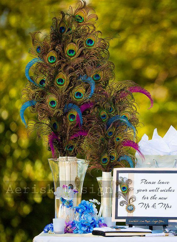 Peacock Feather Table Center Piece 24 Inches Tall Or More Grand