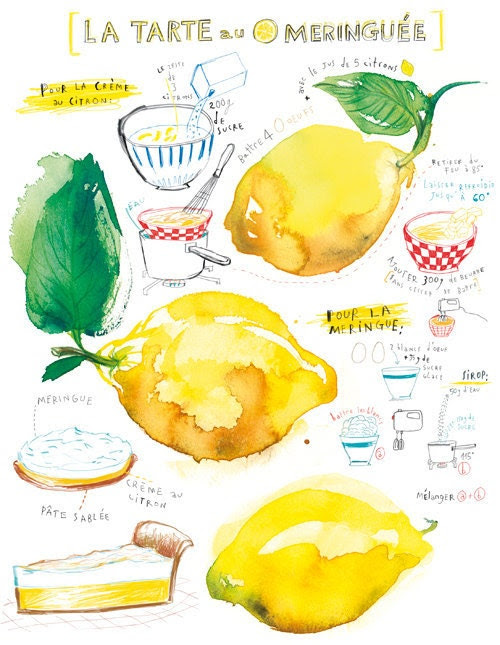 Lemon meringue pie recipe - 8X10 print - Kitchen poster - Food illustration - French cake recipe No 9- Food art