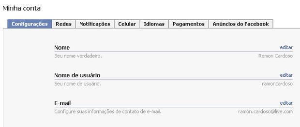 Alternar nome do perfil do Facebook (Foto: Reprodução/TechTudo)