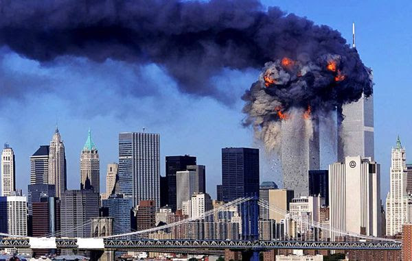 The Twin Towers of New York's World Trade Center complex are struck by airliners hijacked by terrorists on September 11, 2001.