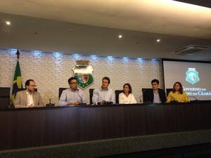 Governo e Sindicato Apeoc anunciaram reajuste em coletiva nesta terça-feira (Foto: Divulgação/Governo do Estado)