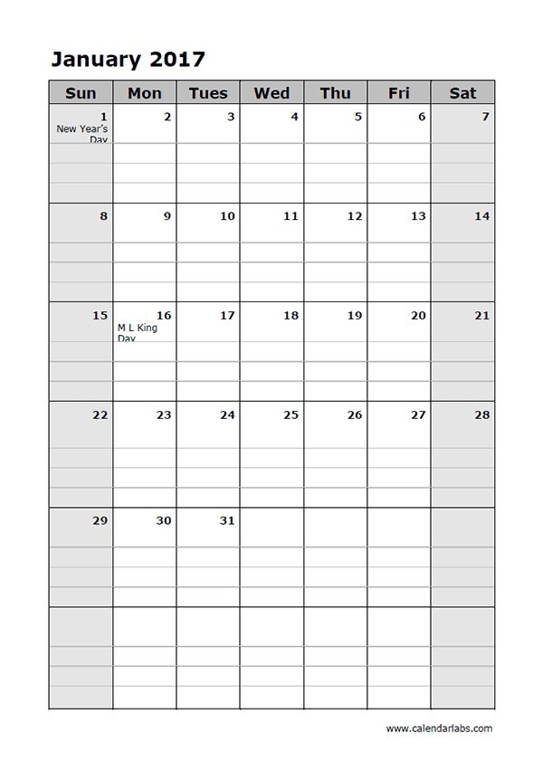 2017 Calendar Template Daily Planner - Free Printable Templates