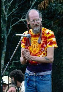 Stephen Gaskin at the Nambassa 5 day Music & Alternatives festival, New Zealand, 1981. Photographer: Michael Bennetts.
