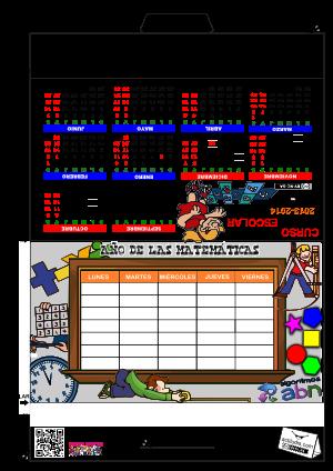 Calendario y Horario Matemáticas Color