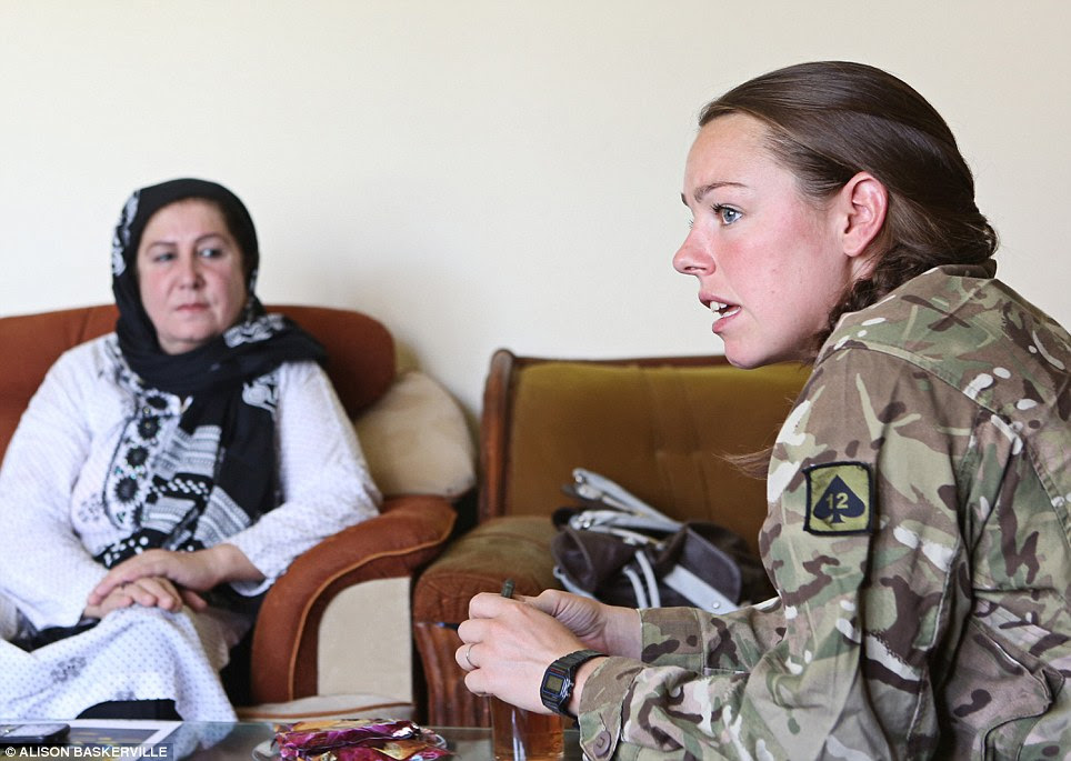 Lieutenant French sits down with Gulali who said: 'When I meet soldiers like Jess I hope that women from Afghanistan will see her and also want to put on a uniform, get a job and learn to be independent.'
