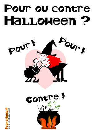 Pour ou contre Halloween à imprimer