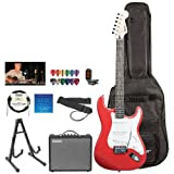 Fender Starcaster JF-028-0002-509-KIT-3 Candy Apple Red Electric Guitar with Stand, Strap, Strings, Gig Bag, DVD...
