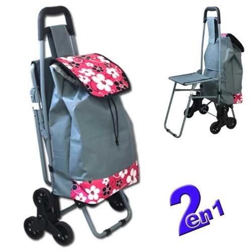 sacs de courses et cabas chariot de courses 32l 6 roues avec si ge int gr indiscount. Black Bedroom Furniture Sets. Home Design Ideas