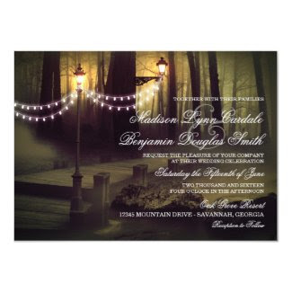 String of Lights Rustic Wedding Invitations