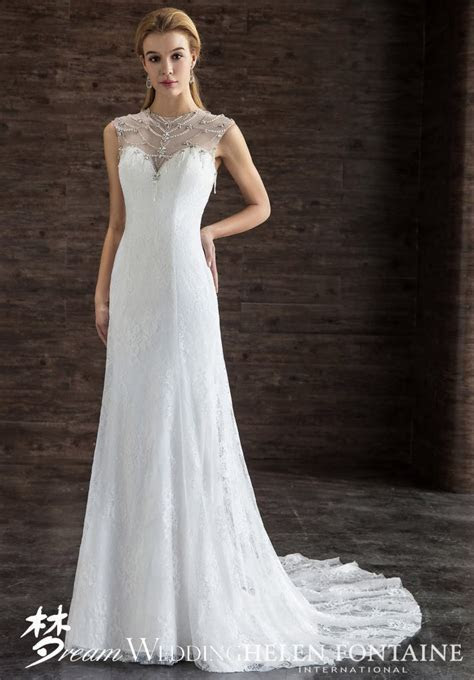 Modest Cap Sleeve Lace Dress With Sheer Beaded Top Style