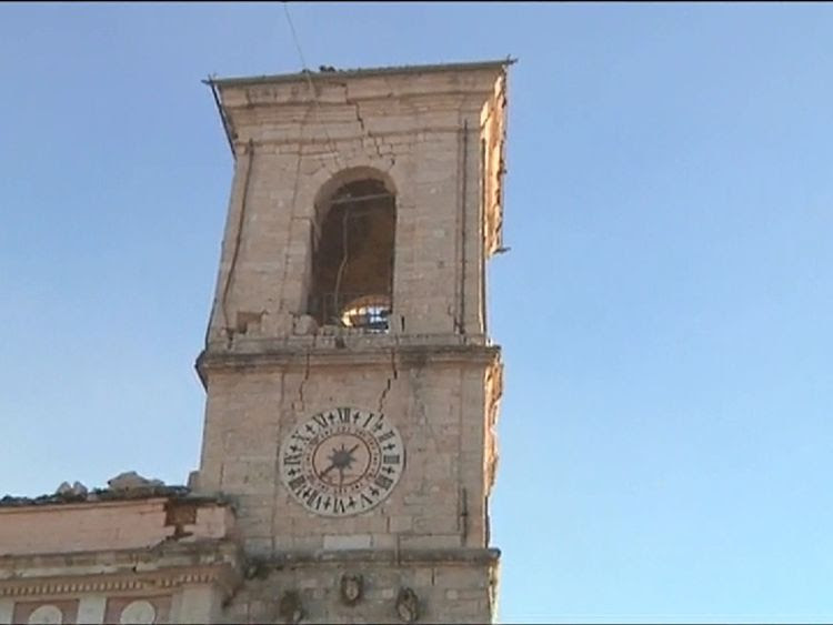 Norcia town hall  was damaged in the quake