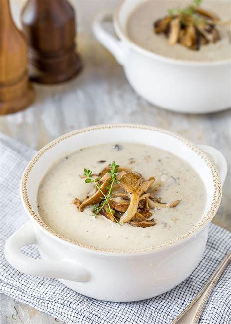 homemade homemade cream  mushroom soup striped spatula